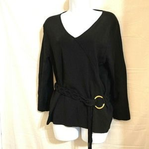 Black Knit Pullover Top Belted Crossover XL N17E